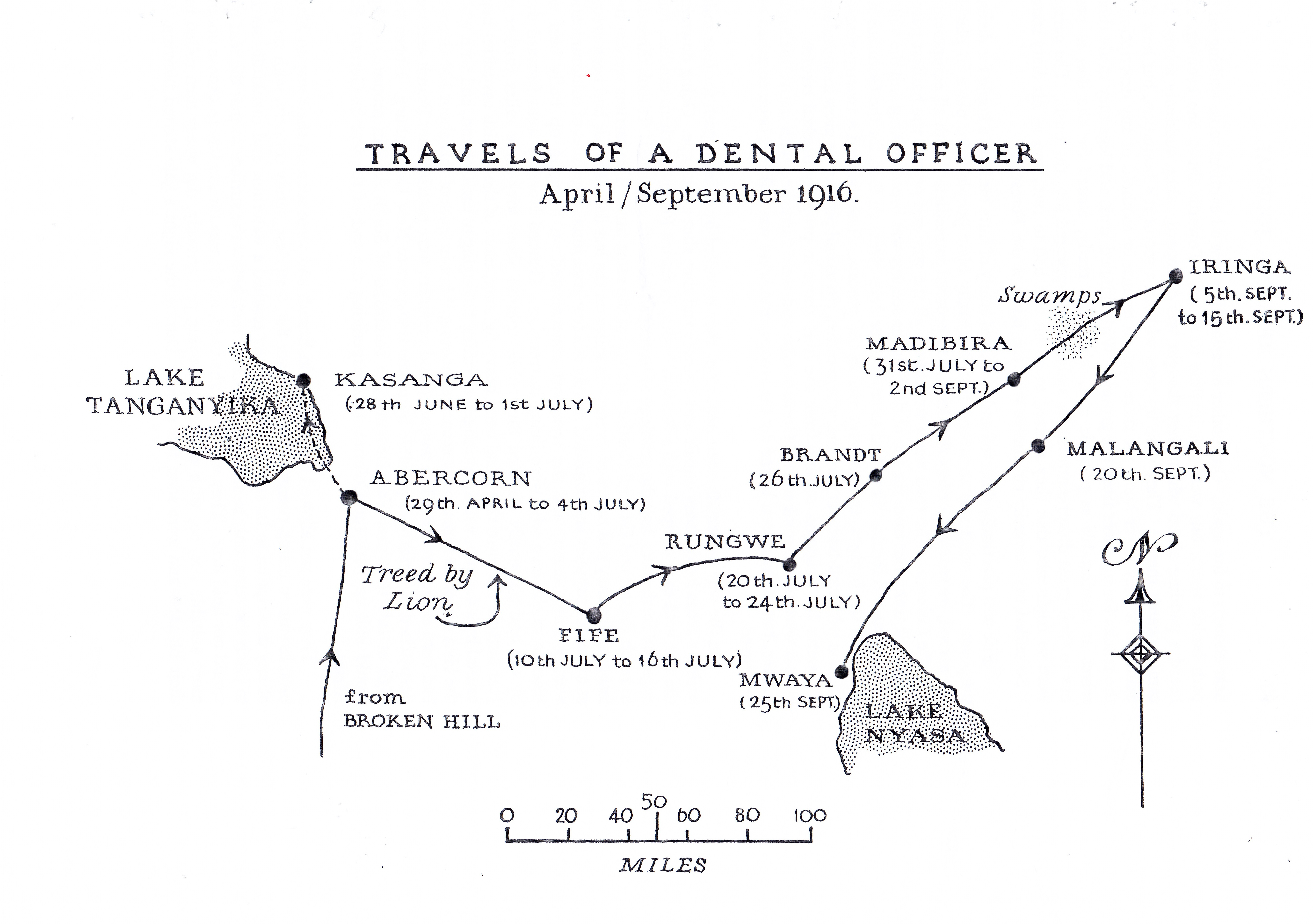 A map drawn by William of his expedition to the border of German East Africa in mid 1916