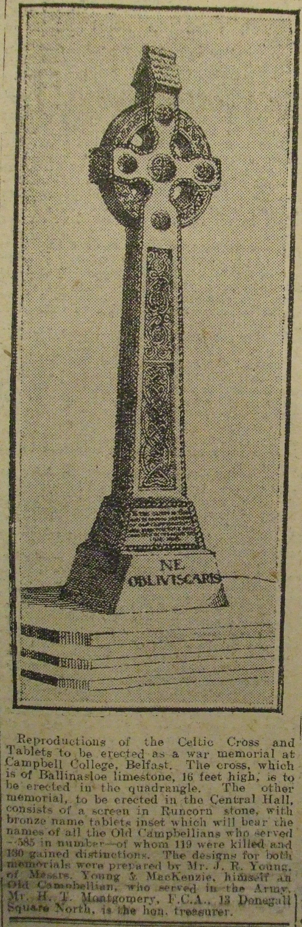 Celtic Cross proposed for the Campbell College War Memorial (Belfast Telegraph, 20-02-1920)