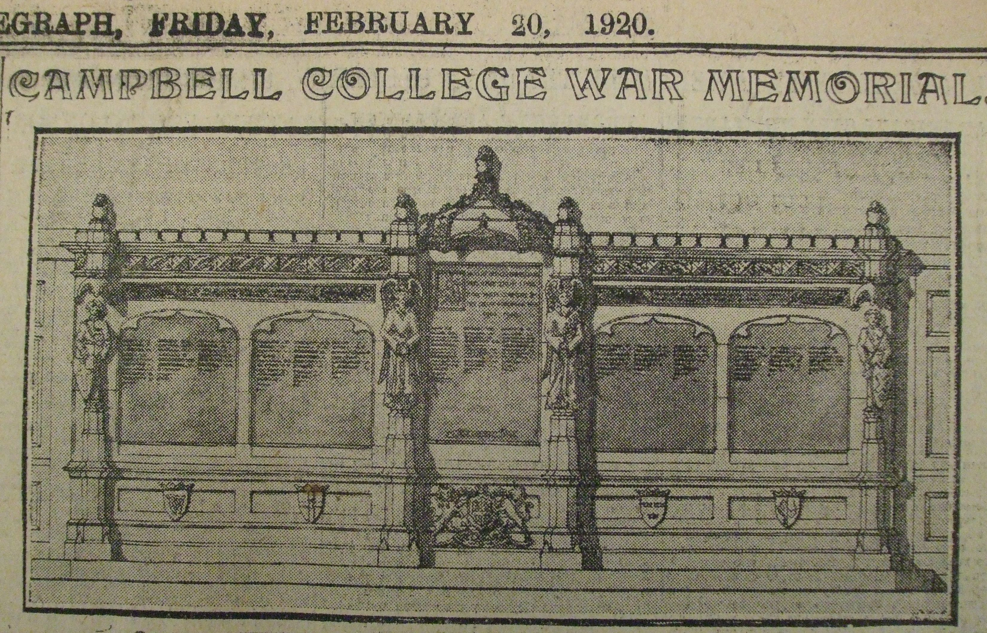Design for the current Campbell College War Memorial (Belfast Telegraph, 20-02-1920)